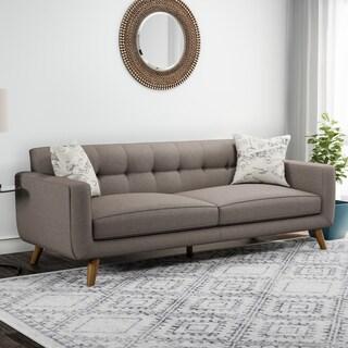 Carson Carrington Nesbyen Brown Sofa with 2 Accent Pillows