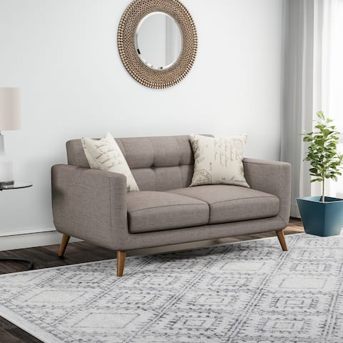 Carson Carrington Nesbyen Brown Loveseat with 2 Accent Pillows