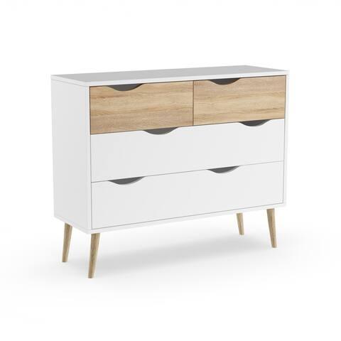 Carson Carrington Kristiansund White Oak Wood 4-Drawer Chest