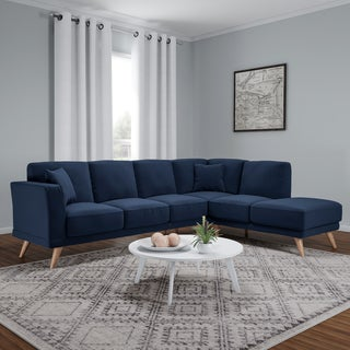 Furniture of America Rama Mid-Century Modern Flannelette L-Shaped Sectional
