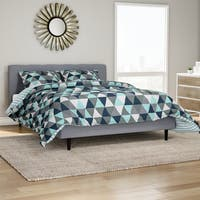 Carson Carrington Verdalsora 3-piece Blue Triangles Reversible Comforter Set