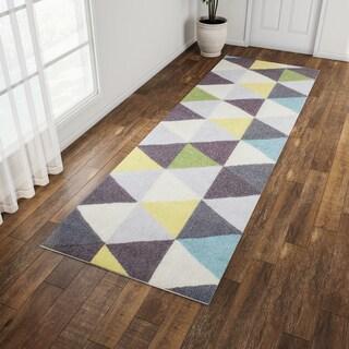 Carson Carrington Overlund Handmade Triangles Wool Green Runner Rug (2'6 x 8')