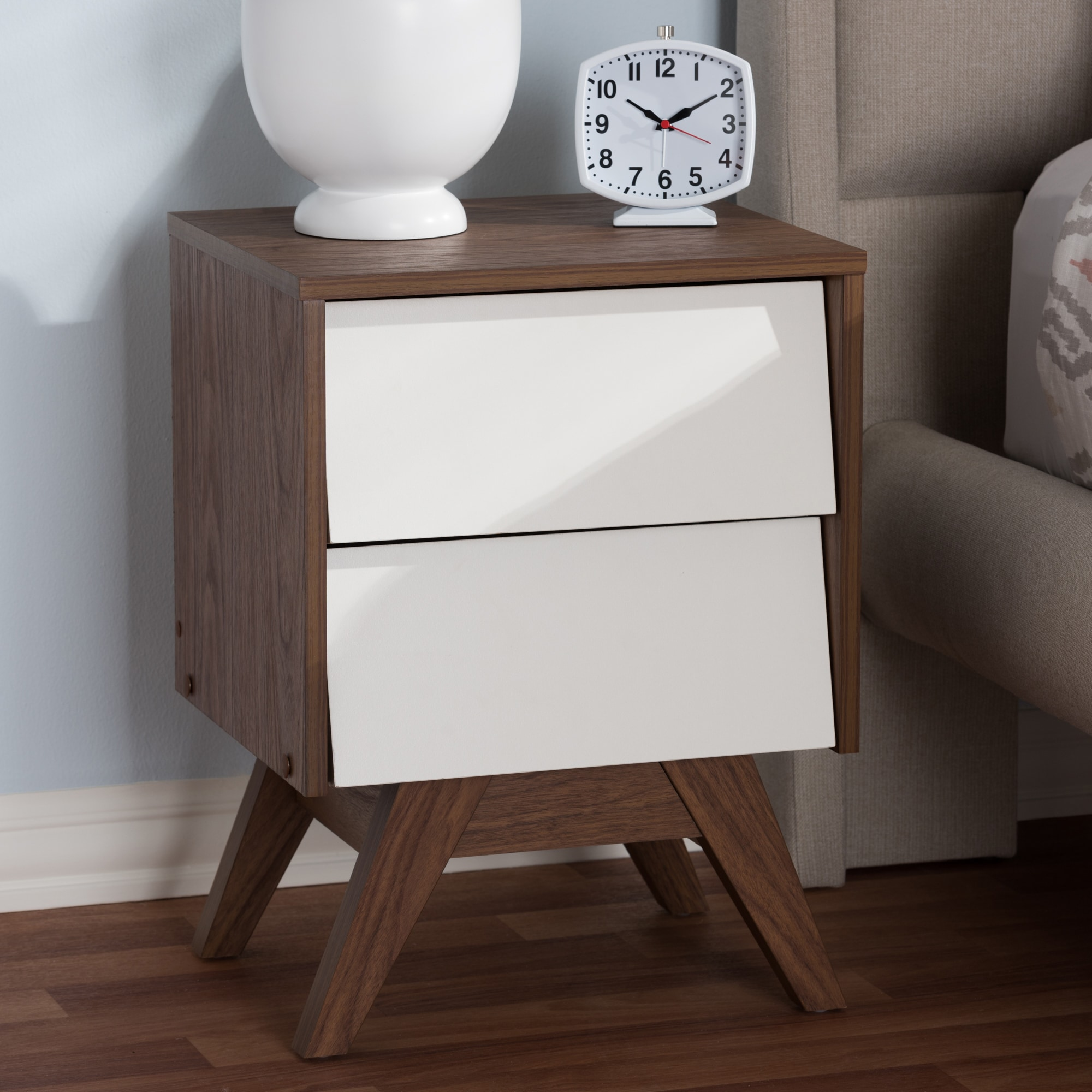 Carson Carrington Halmstad Mid Century White And Brown Nightstand Overstock 20931459