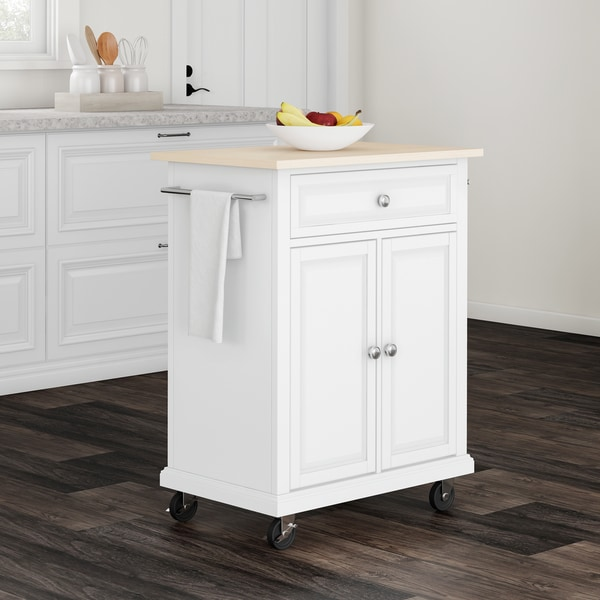 Porch U0026amp; Den Keap White Wood Portable Kitchen Cart And Island