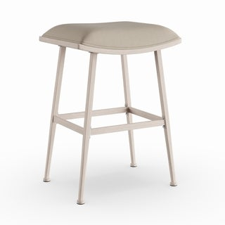 Silver Orchid Grant White Fabric and Steel Indoor/ Outdoor Non-Swivel Backless Counter Stool