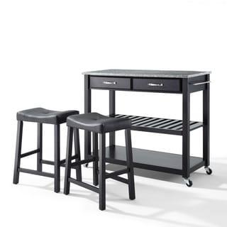 Carbon Loft Edwin Granite Top Black Kitchen Cart with Black Upholstered Saddle Stools - N/A