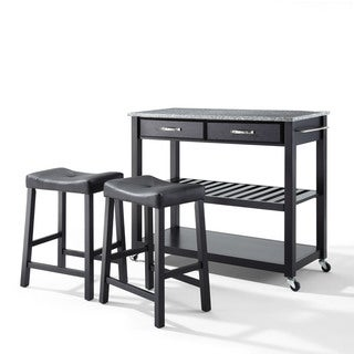 The Gray Barn Tipperary Granite Top Black Kitchen Cart with Black Upholstered Saddle Stools