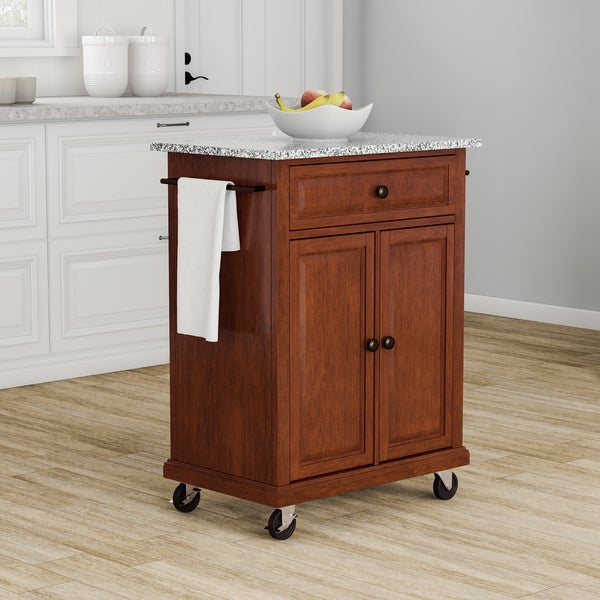Gracewood Hollow Kalifornsky Solid Granite Top Portable Kitchen Cart/ Island in Classic Cherry Finish