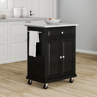 Copper Grove Kawartha Black Wood and Stainless Steel Portable Kitchen Island - N/A