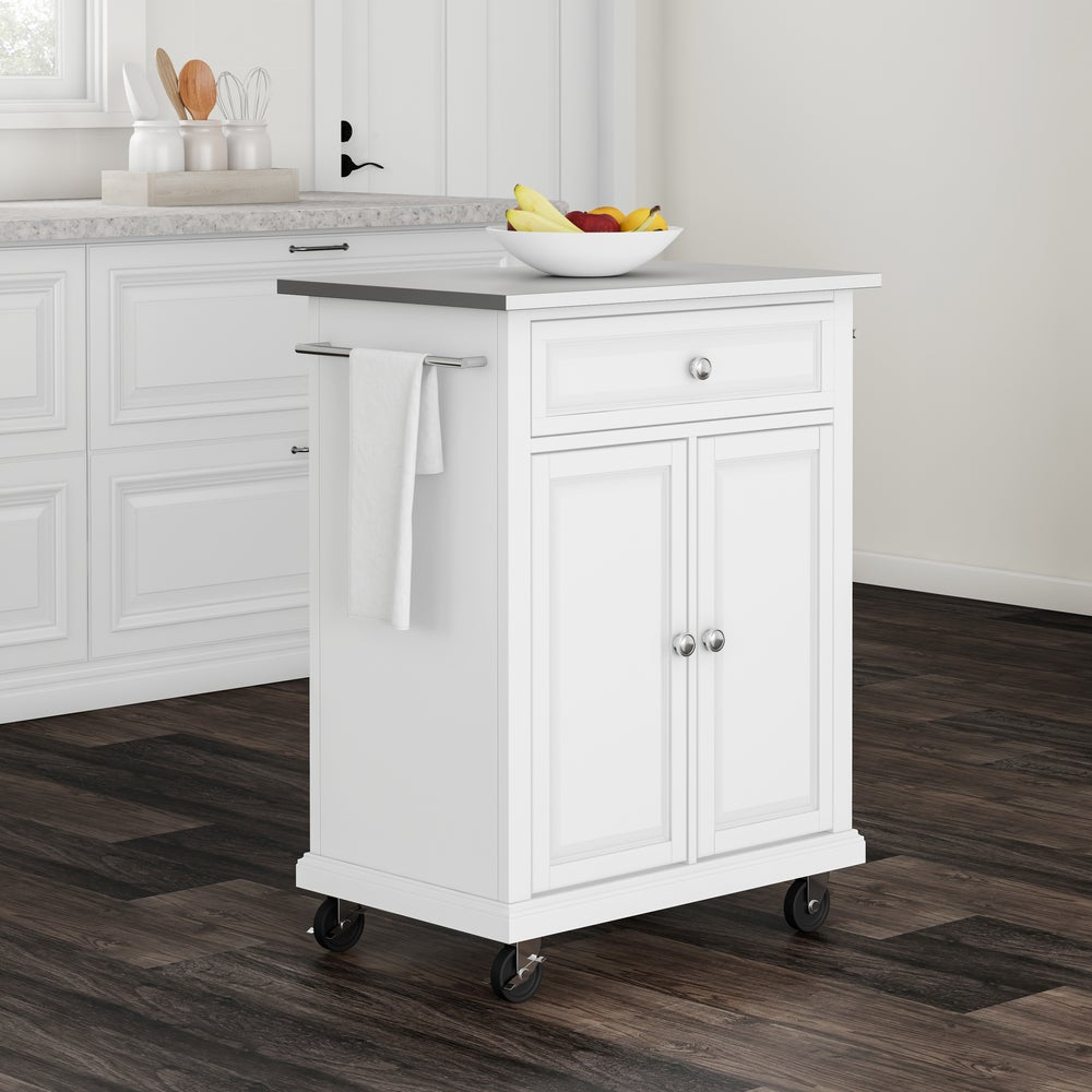 Copper Grove Kawartha White Wood Portable Kitchen Cart Island With Stainless Steel Top Overstock 20931549