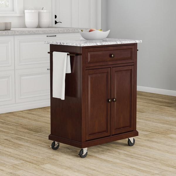 Copper Grove Kawartha Vintage Mahogany Finish Solid Granite Top Portable Kitchen Cart and Island - N/A