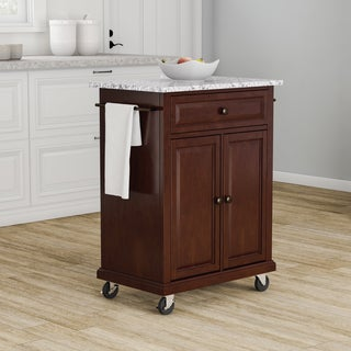 Copper Grove Kawartha Vintage Mahogany Finish Solid Granite Top Portable Kitchen Cart and Island - N/A