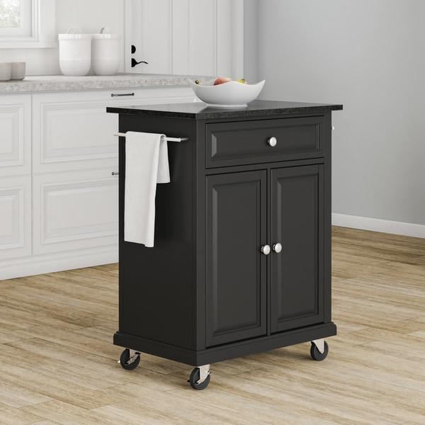 Gracewood Hollow Kalifornsky Solid Black Granite Top Portable Kitchen Cart/  Island In Black Finish