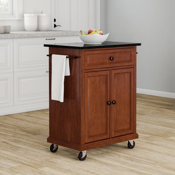 Gracewood Hollow Kalifornsky Solid Black Granite Top Portable Kitchen Cart/  Island In Classic Cherry Finish