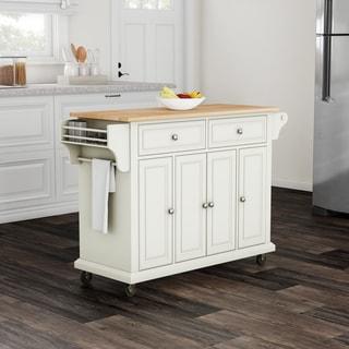 Gracewood Hollow Keeler White Natural Wood Top Kitchen Cart Island