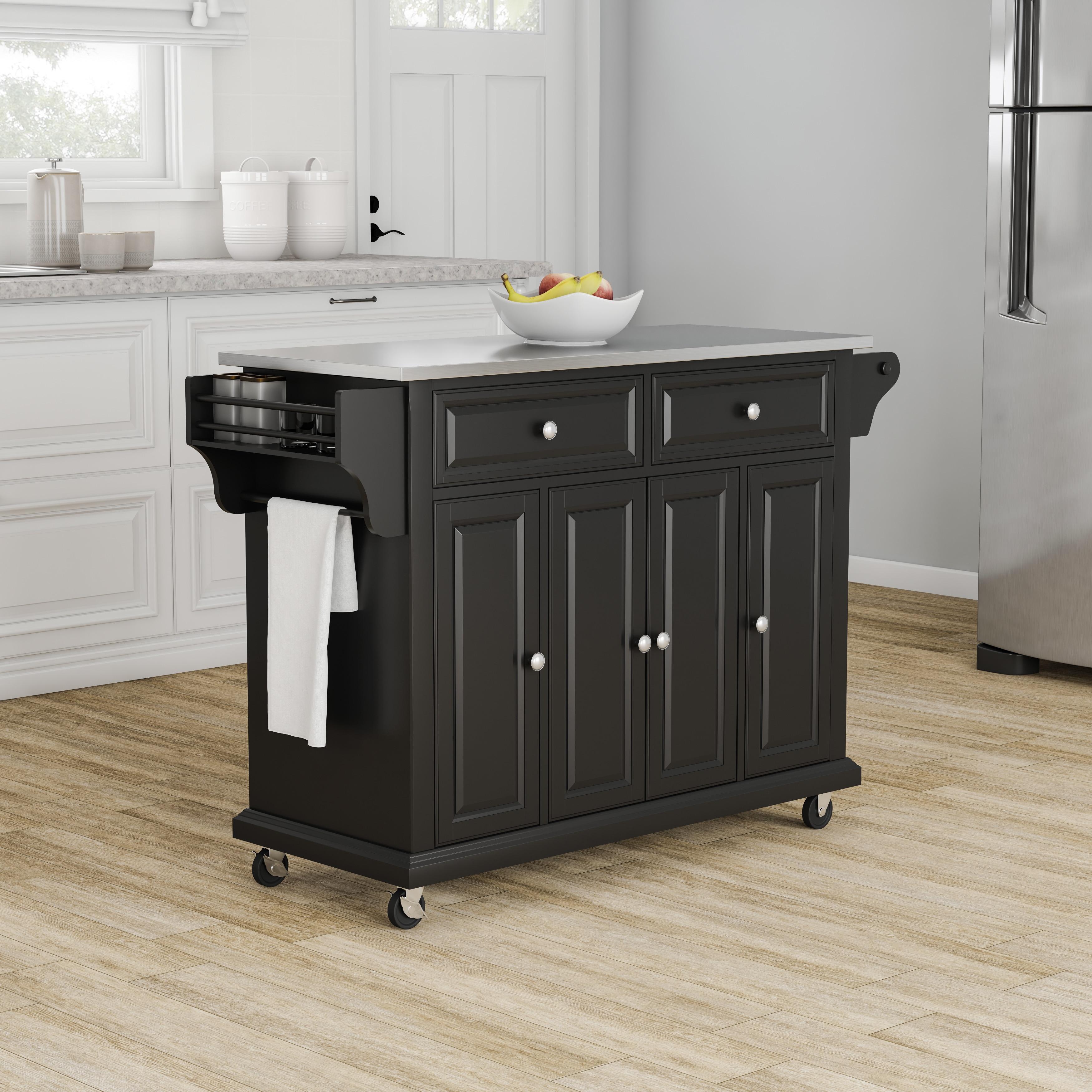 Copper Grove Kanha Black Finish Stainless Steel Top Kitchen Cart/ Island