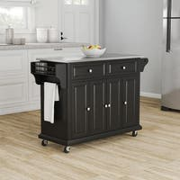 Gracewood Hollow Keeler Black Finish Stainless Steel Top Kitchen Cart/ Island