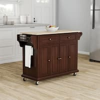 Gracewood Hollow Keeler Mahogany Wood Kitchen Cart/ Island