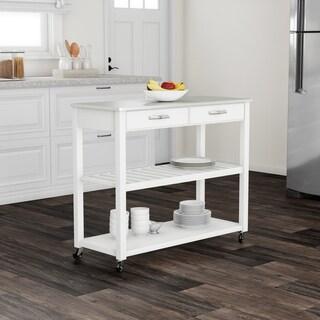 Porch & Den Keap White Wood/ Stainless Steel Kitchen Cart Island - N/A