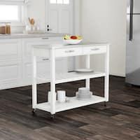 Porch & Den Keap White Wood/ Stainless Steel Kitchen Cart Island