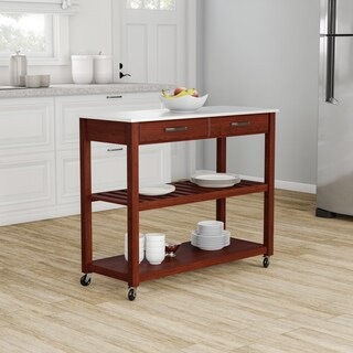 Pine Canopy Gladiolus Cherry-finish Wood Kitchen Cart/ Island