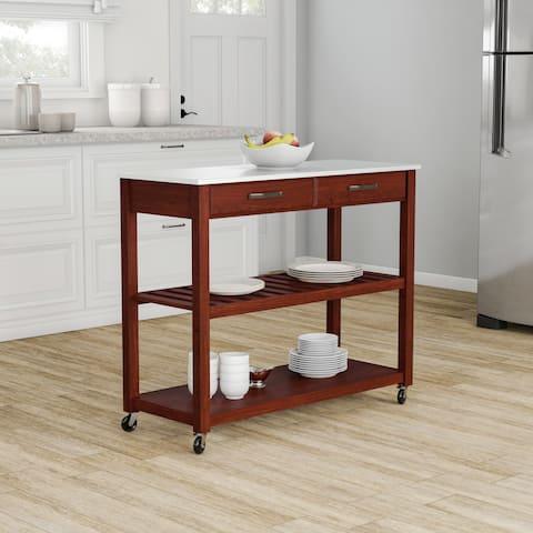 Porch & Den Calvert Cherry-finish Wood Kitchen Cart/ Island