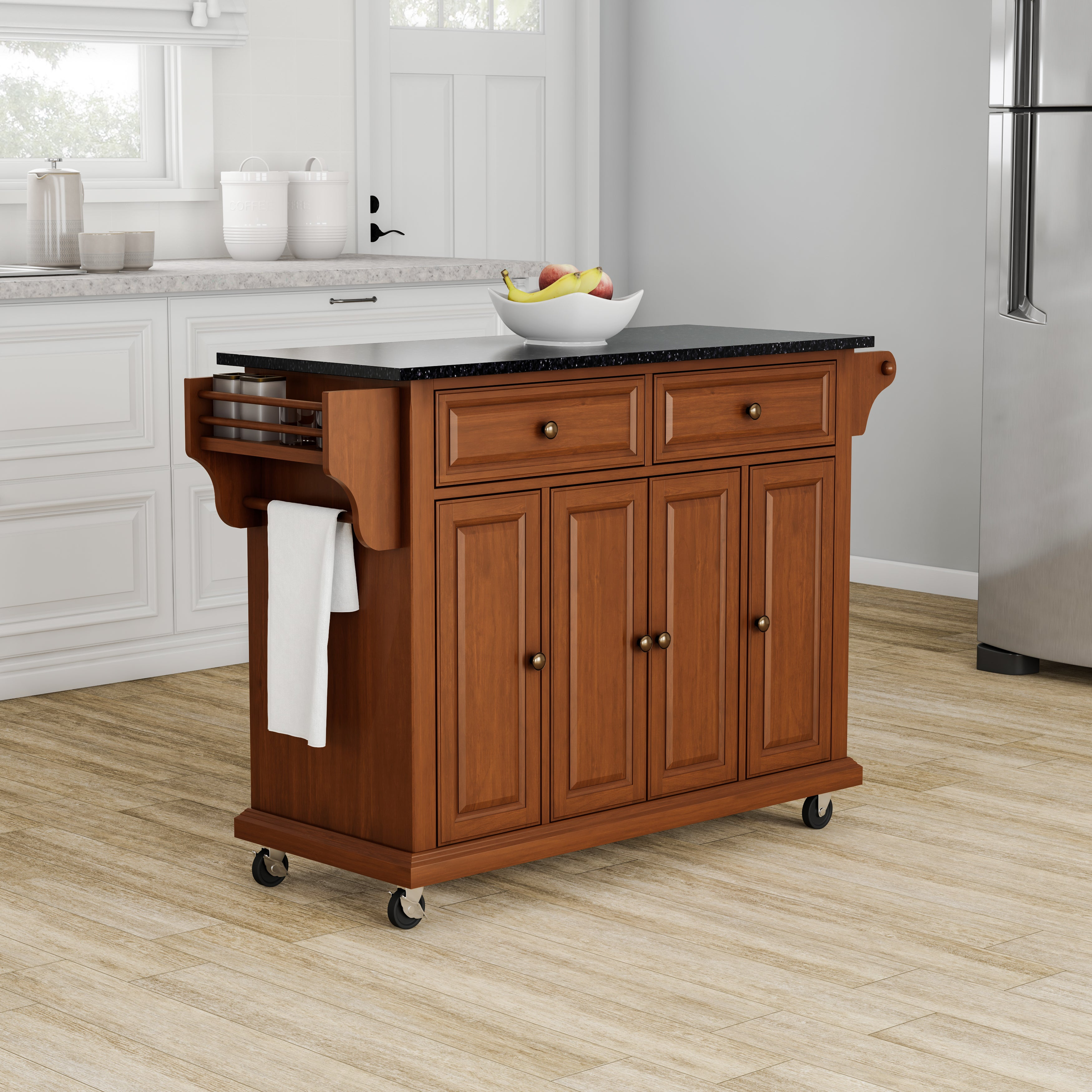 Copper Grove Kanha Solid Black Granite Top Classic Cherry Finish Kitchen  Cart/ Island