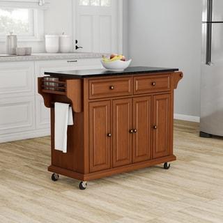Copper Grove Kanha Solid Black Granite Top Classic Cherry Finish Kitchen Cart/ Island