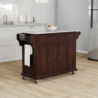 Copper Grove Kanha Vintage Mahogany Stainless Steel Top Kitchen Cart/ Island - N/A