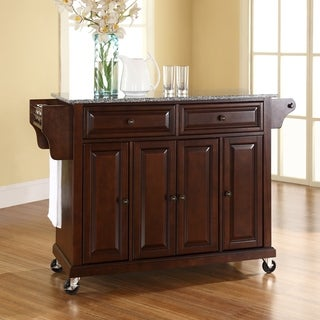 Copper Grove Kanha Vintage Mahogany Solid Granite Top Kitchen Cart