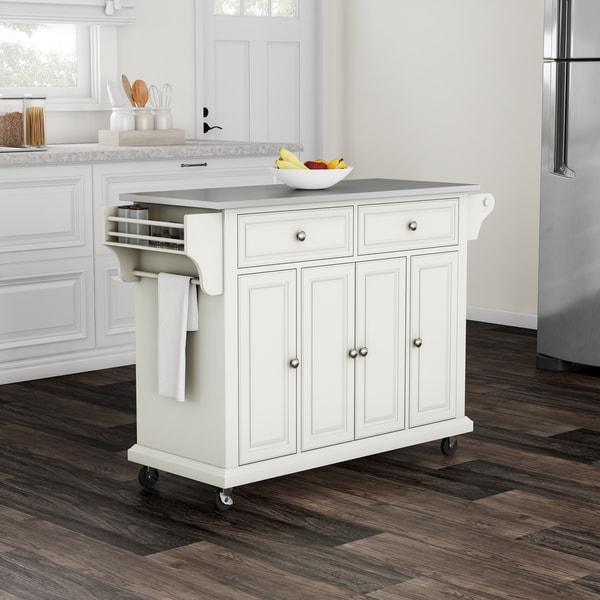 shop copper grove tillebrook white finish stainless steel top kitchen cart and island free. Black Bedroom Furniture Sets. Home Design Ideas