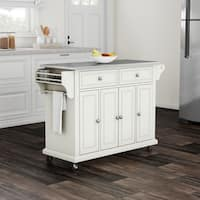 Maison Rouge Auster White Finish Stainless Steel Top Kitchen Cart and Island