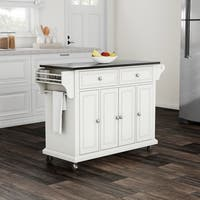 Maison Rouge Auster Solid Black Granite Top Kitchen Cart/ Island in White Finish