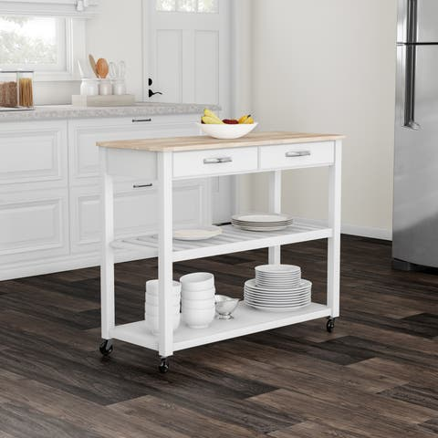 Copper Grove Shippagan Natural Wood Top Kitchen Cart/ Island With Optional Stool Storage in White Finish