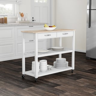 Copper Grove Shippagan Natural Wood Top Kitchen Cart/ Island With Optional Stool Storage in White Finish - N/A