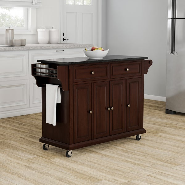Copper Grove Kanha Solid Black Granite Top Kitchen Cart/ Island in Vintage Mahogany Finish - N/A