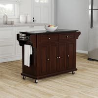 Copper Grove Kanha Solid Black Granite Top Kitchen Cart/ Island in Vintage Mahogany Finish