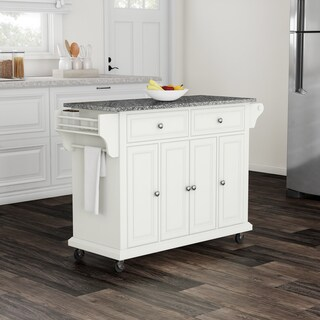 Gracewood Hollow Keeler White Wood and Granite Kitchen Cart