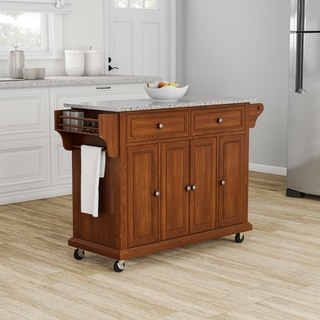 Copper Grove Kanha Solid Granite-top Classic Cherry Finish Kitchen Cart/ Island