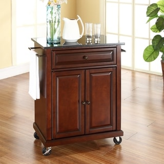 Copper Grove Kawartha Solid Black Granite Top Portable Kitchen Cart/ Island in Vintage Mahogany Finish