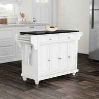 Havenside Home Milbridge White with Black Granite Top Kitchen Island