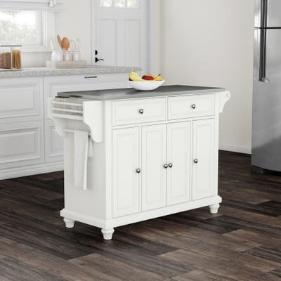 Copper Grove Goulais Stainless Steel Top Kitchen Island in White Finish
