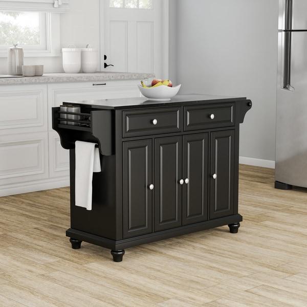 shop copper grove kanha solid black granite top kitchen island in