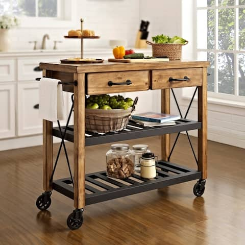 "Carbon Loft Edwin Wood and Metal Kitchen Cart - 42""W x 18""D x 36.75""H"