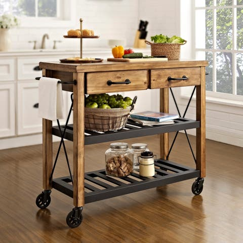 Carbon Loft Edwin Wood and Metal Kitchen Cart - N/A