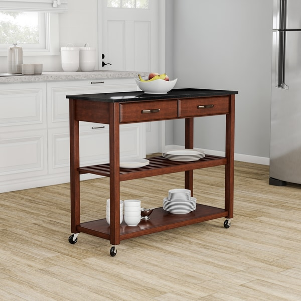 Pine Canopy Gladiolus Solid Black Granite Top Kitchen Cart/ Island