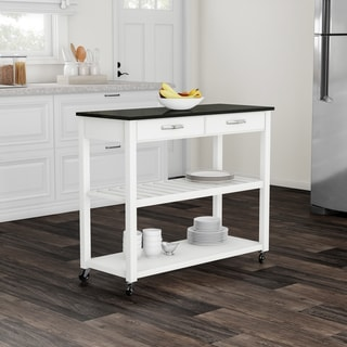 Porch & Den Keap Solid Black Granite Top Kitchen Cart/ Island With Optional Stool Storage in White Finish
