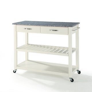 The Gray Barn Tipperary Solid Granite Top Kitchen Cart with White Finish