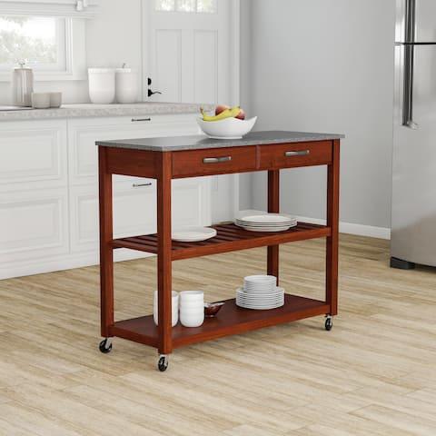 Porch & Den Calvert Solid Granite Top Kitchen Cart/ Island