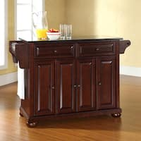 Gracewood Hollow Keeler Solid Black Granite Top Kitchen Island in Vintage Mahogany Finish